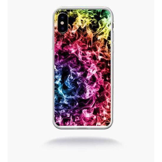 Coque smartphone - SMOKE FUME ARC EN CIEL - compatible avec Apple iPhone X - Plastique - bord Transparent