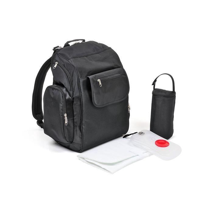 Sac à dos noir de voyage gamme Premium Three Little Imps - Sac à langer maternité avec ensemble d'accessoires: Bébés & Puériculture