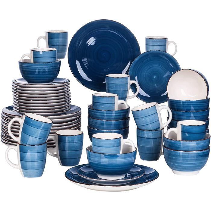 vancasso, Série Bella, Service Vaiselle Complet en Porcelaine, Assiettes 48 Pièces 12 Personnes, Faïence Style Vintage Rustique