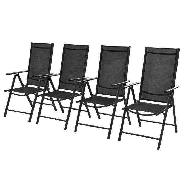 Chaises pliables de jardin 4 pcs Aluminium et textilène Noir -YNJ