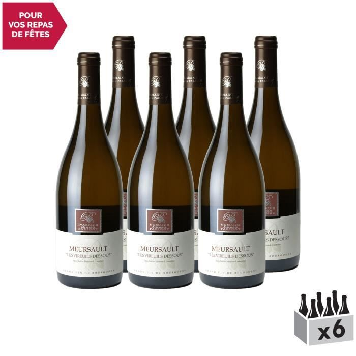Meursault Les Vireuils Dessous Blanc 2018 - Lot de 6x75cl - Domaine Parigot Père et Fils - Vin AOC Blanc de Bourgogne - Cépage