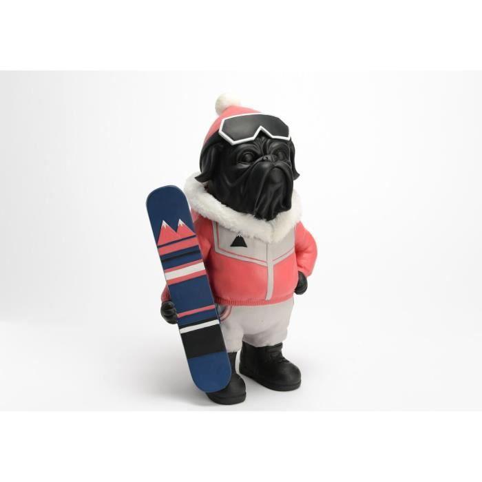 Grande statue de chien Bouledogue Anglais -Surfeur des montagnes- en résine, hauteur 37 cm