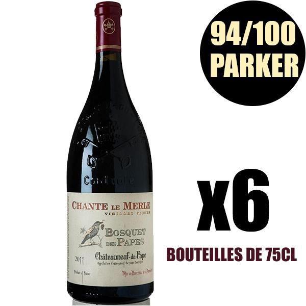 X6 Châteauneuf du Pape -Le Merle VV- 2011 75 cl Domaine Bosquet des Papes AOC Châteauneuf du Pape Vin Rouge