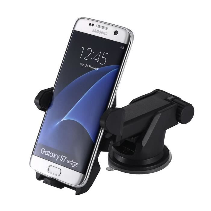 Support telephone voiture, support telephone voiture ventouse, support smartphone voiture, support ventouse telephone voiture. Noir