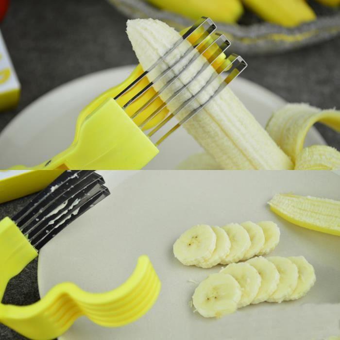 Banana Slicer Cutter Ciseaux Découpe Banane Lame Salade Acier Inoxydable