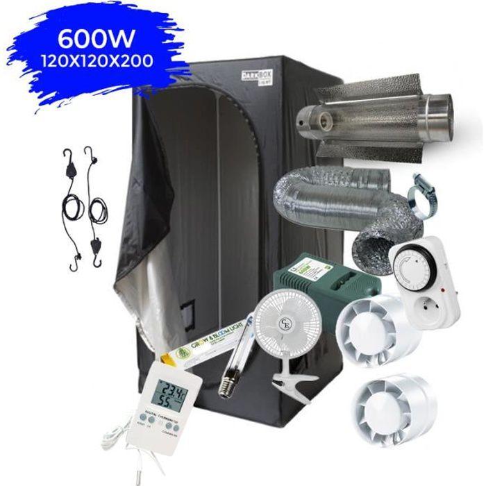 Pack Chambre de culture Complet 120x120x200 Cooltube HPS 600W avec Ventilation et Accessoires