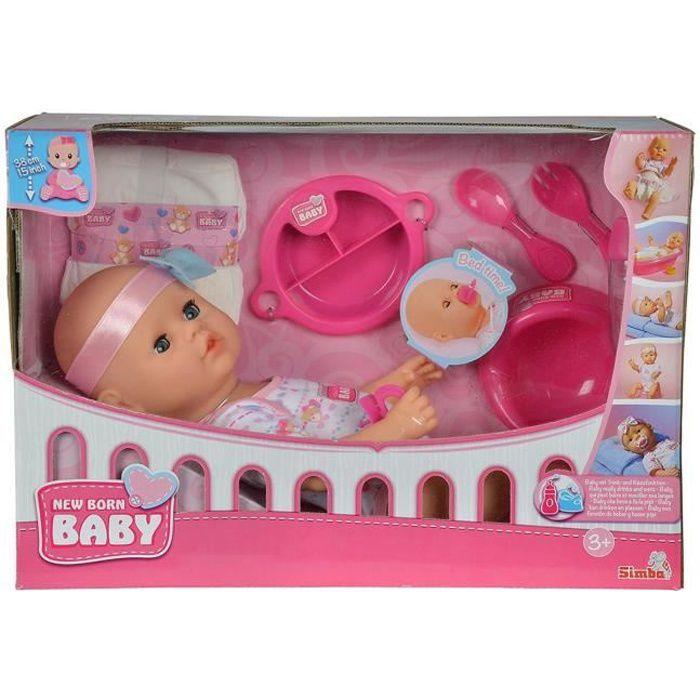 Simba Toys 105037975 New Born Baby- Bébé il est temps de se couche