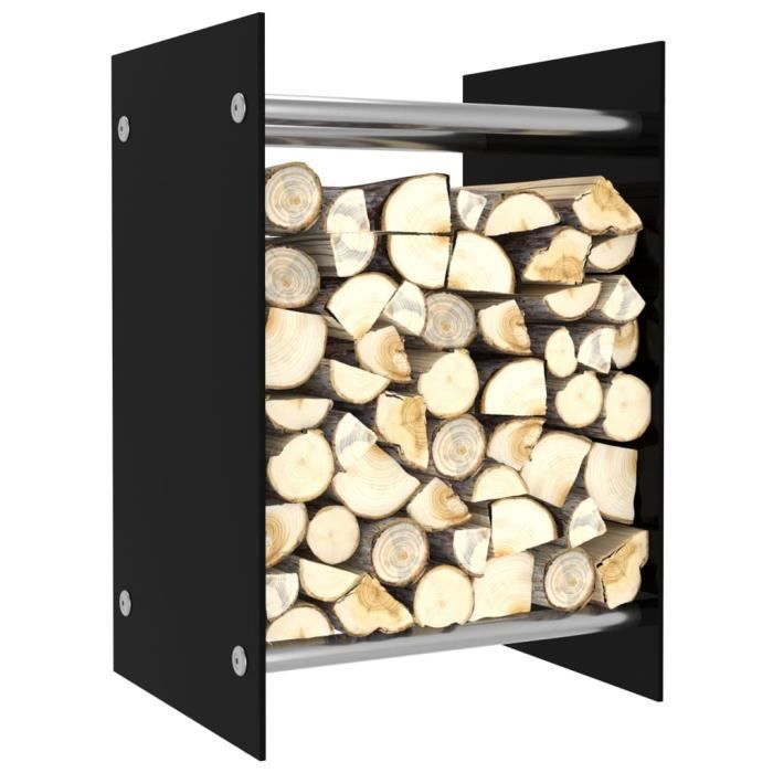 Portant de bois de chauffage Contemporain - Abri Bûches Range Bûches Porte Portant de stockage Noir 40x35x60 cm Verre élégant ♫14337