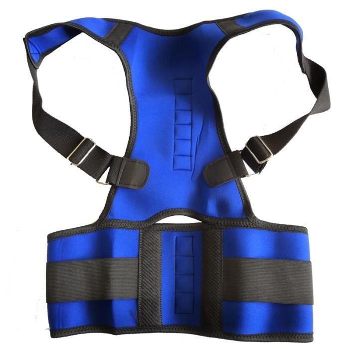 CEINTURE LOMBAIRE,Réglable Orthopédique Dos Posture Soutien Bretelles Ceinture Correcteur de Posture Magnétique - Type Bleu-S