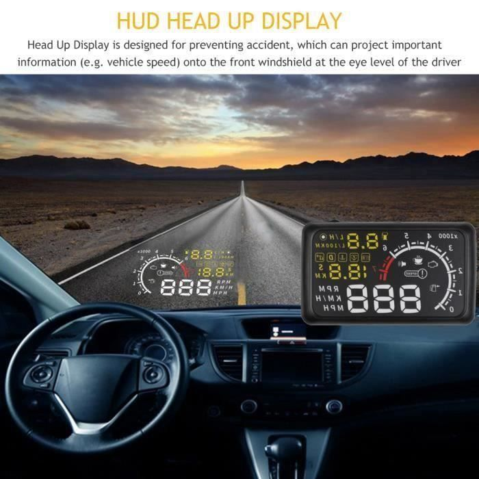 TH 5.5 pouces Affichage tête haute OBDII Voiture HUD Head Up Display OBD2 Plug-Play Interface