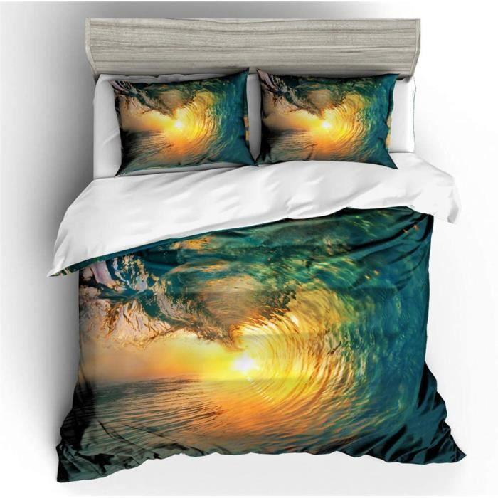 Parure de lit Enfant 1 Personnes La mer Vague Soleil Impression Bleu Housse de Couette Polyester Fermeture 140x200cm[434]