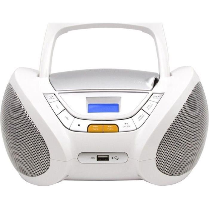 Lauson CP443 Lecteur CD Boombox Radio Portable avec USB, Lecteur MP3 pour Enfant. Prise Casque, Aux-in, Écran LCD (Blanc)