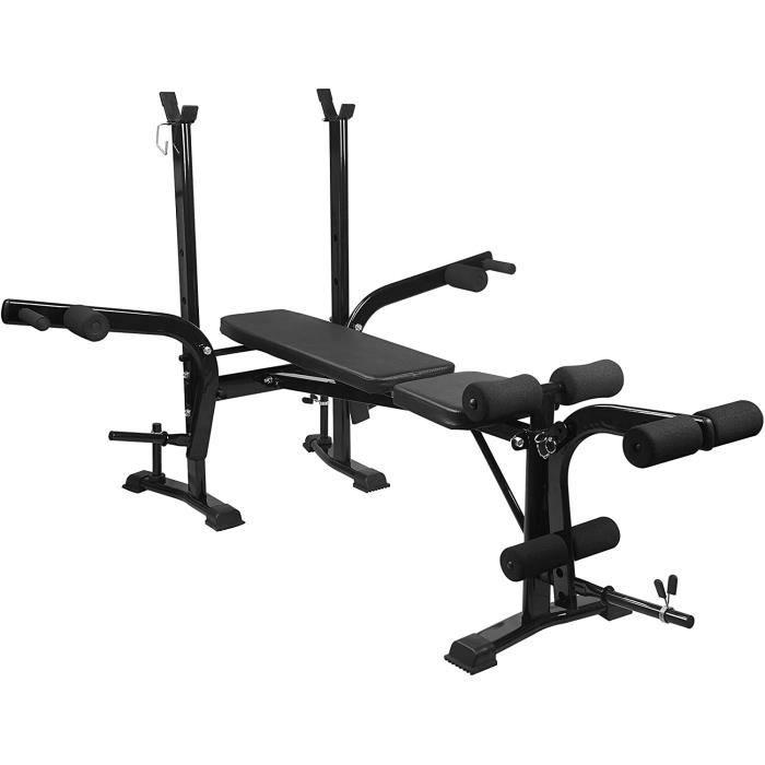 Banc de musculation pliable multigym avec support d'haltères, bureau de curl et papillon, banc d'entraînement avec dossier réglabl