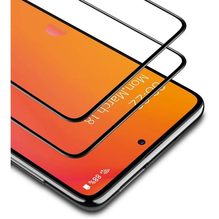 Verre Trempé Xiaomi Redmi Note 10 Pro, 2 Pièces Cadre Noir Protection d'écran Film Accessoires Anti-empreinte Digitale