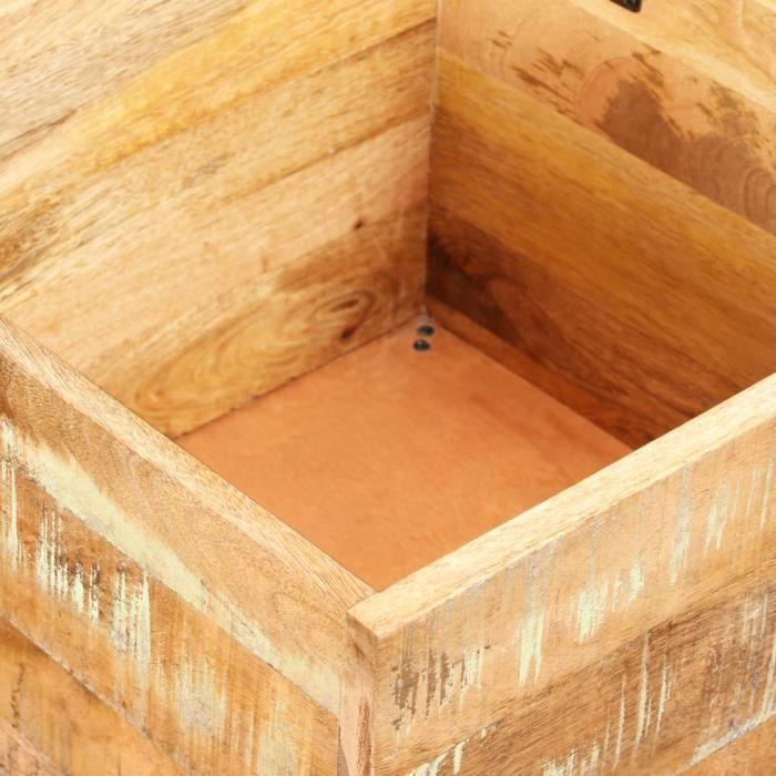 Le meilleur* -393587- Coffre de Rangement - Banc de rangement Bois massif recyclé 40 x 40 x 45 cm Tabouret de Rangement