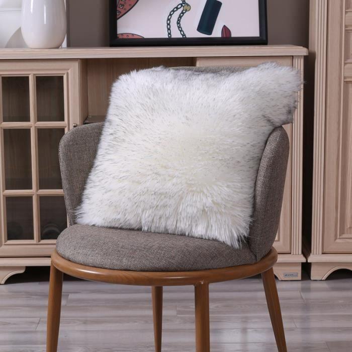Housse de Coussin 45X45cm Blanc gris, Fausse Fourrure Deluxe Décoratif Pour Chambre Lit Super Doux Peluches