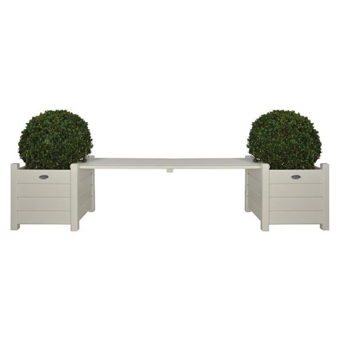 Bacs à fleurs avec banc Esschert Design CF33W coloris blanc