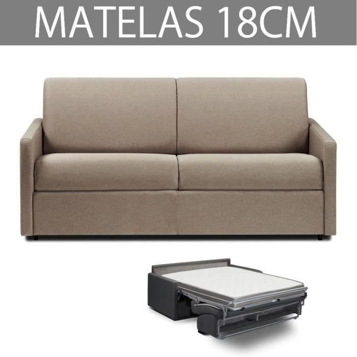 ITALIAN SPIRIT Canapé convertible 3 places RAPIDO ECLIPSE - Tweed taupe - Couchage : 140 cm