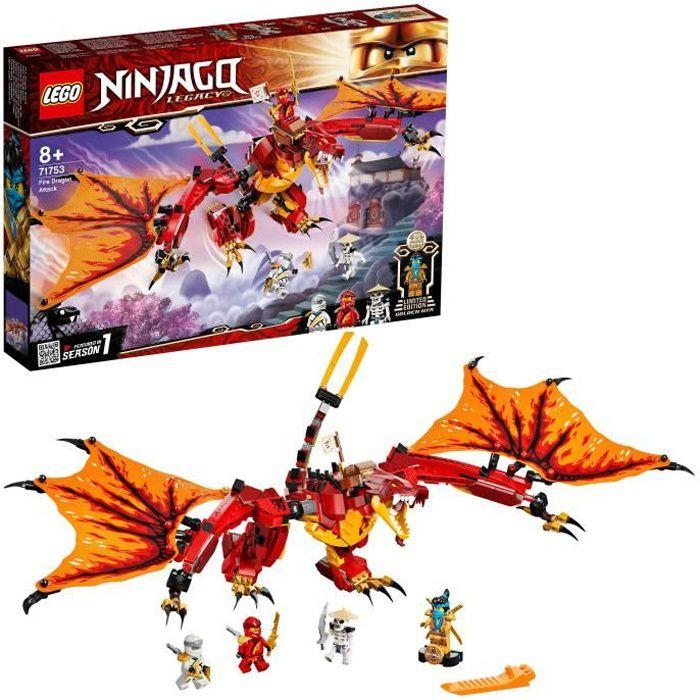 LEGO® 71753 NINJAGO® L'attaque du dragon de feu avec Mini Figurines Kai, Zane et Nya - Jouet Enfant 8 ans