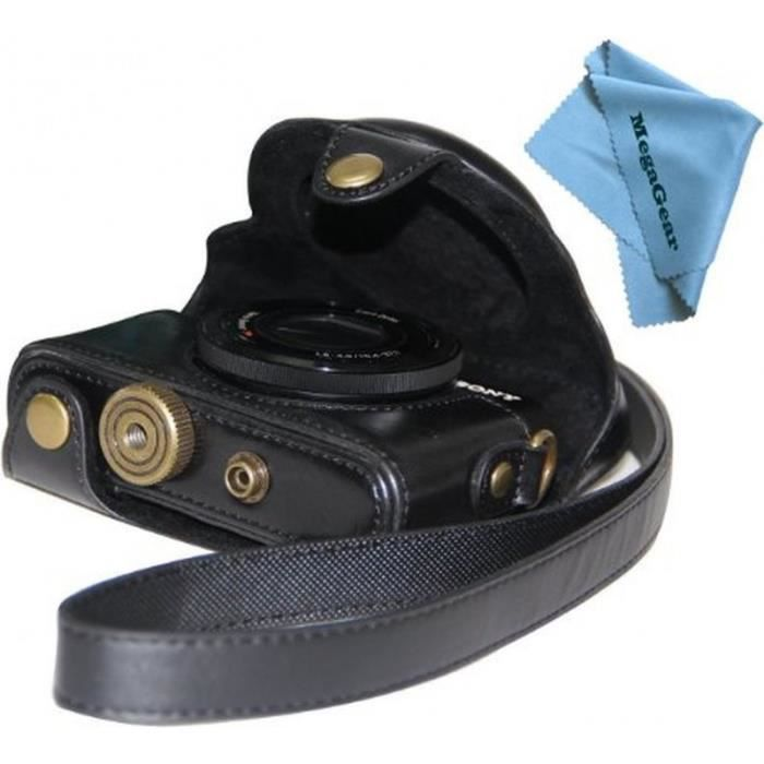 Etui de protection en cuir noir pour appareils photo numériques Sony DSC-RX100M II Cyber-shot RX100 Digital Still Camera II, III