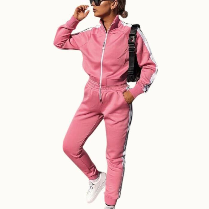 2PCS Ensemble de vêtements pour femmes Tenues de Dames Hauts Pantalons + Casual chemise à manches longues Loungewear Rose