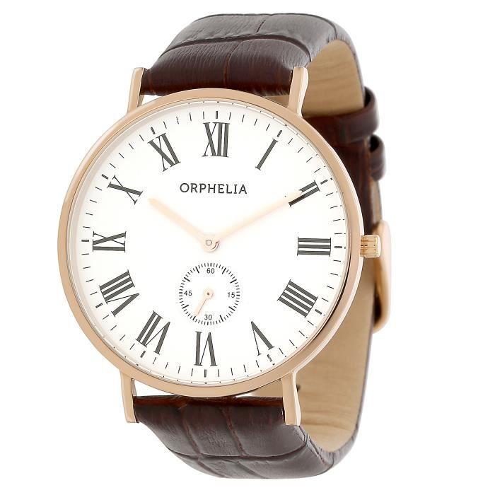 ORPHELIA - Montre Homme - Quartz Analogique - Bracelet Cuir Marron - OR61510