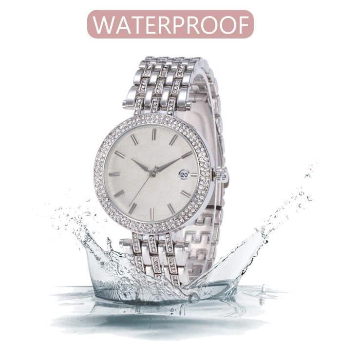 Argent- Montres Femmes Luxe &eacutel&eacutegant incrusté de Diamants r&eacutesistant à l'eau Montre-Bracelet
