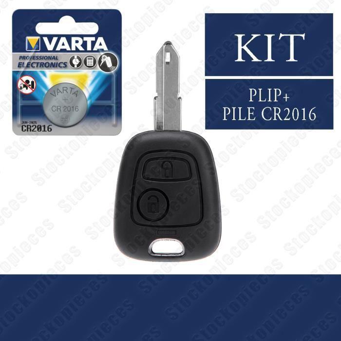 PLIP CLEF TELECOMMANDE CLE BOITIER CLES COMPATIBLE PEUGEOT 206 206 CC 206 SW 206+ PILE VARTA
