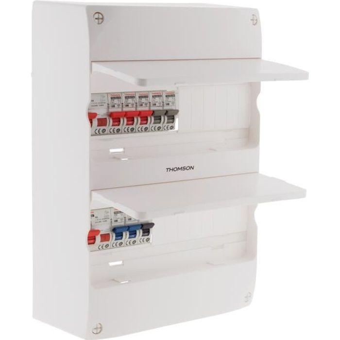 Coffret électrique 2 rangées prééquipé 8 disjoncteurs et 2 interrupteurs différentiels - Thomson