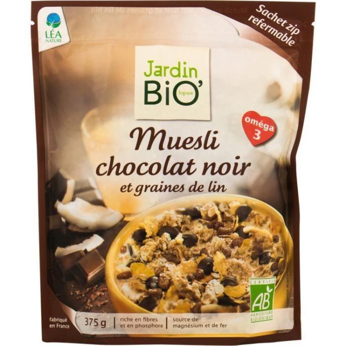 JARDIN BIO Muesli chocolat noir et graines de lin Bio - 375g