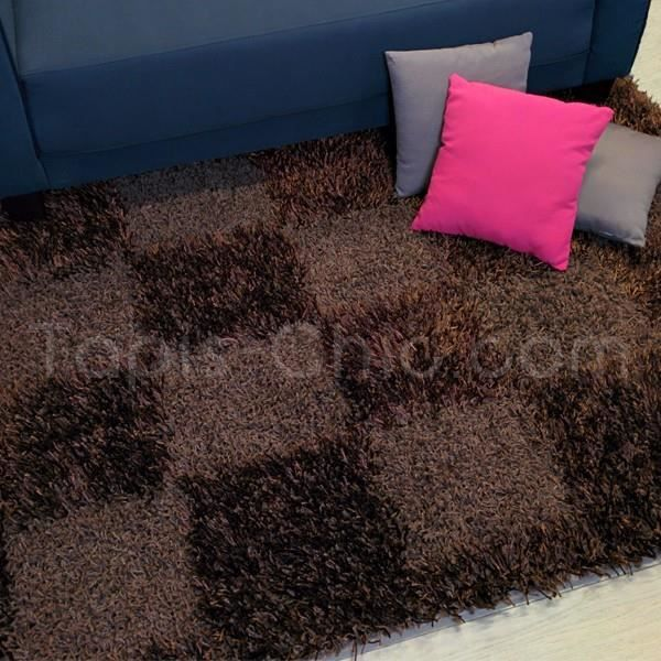 tapis design shaggy damier marron pour tapis ch achat vente tapis cdiscount. Black Bedroom Furniture Sets. Home Design Ideas