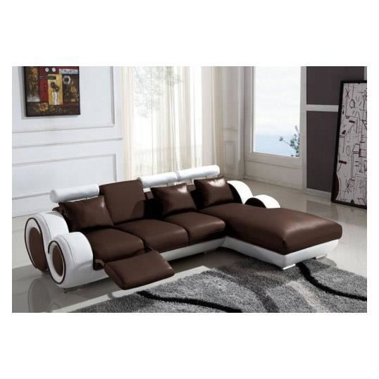 canap d 39 angle relax cuir marron et blanc vilnus achat vente canap sofa divan cuir. Black Bedroom Furniture Sets. Home Design Ideas