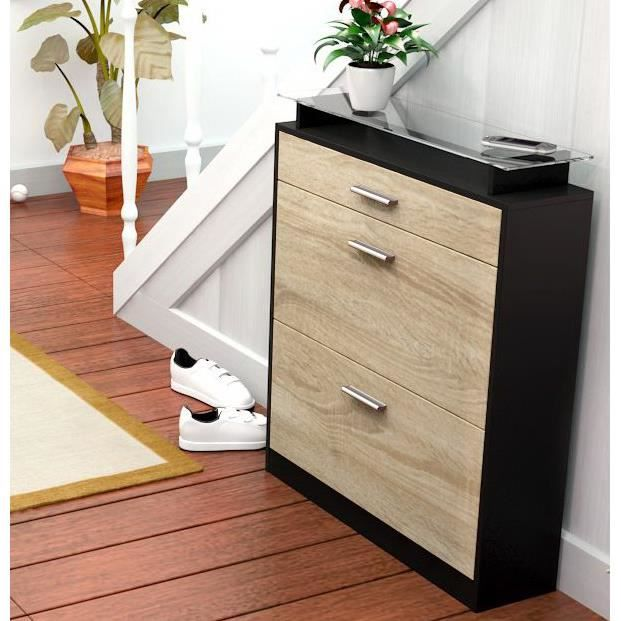 meuble range chaussure bois. Black Bedroom Furniture Sets. Home Design Ideas