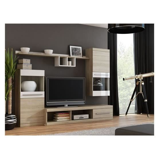 meuble tv mural design cink bois et blanc achat vente. Black Bedroom Furniture Sets. Home Design Ideas