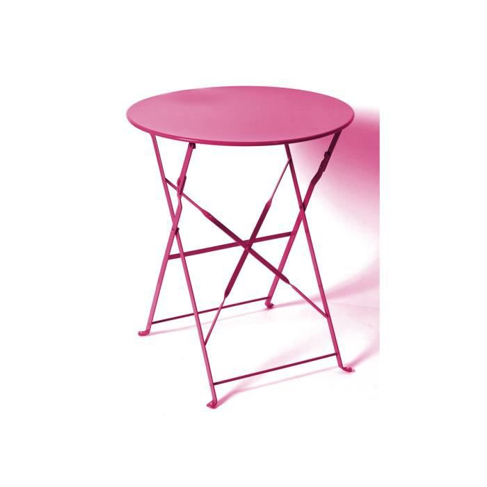 Table Ronde Camargue Pliante 60 Cm Framboise Hesp Ride Achat Vente Table De Jardin Table