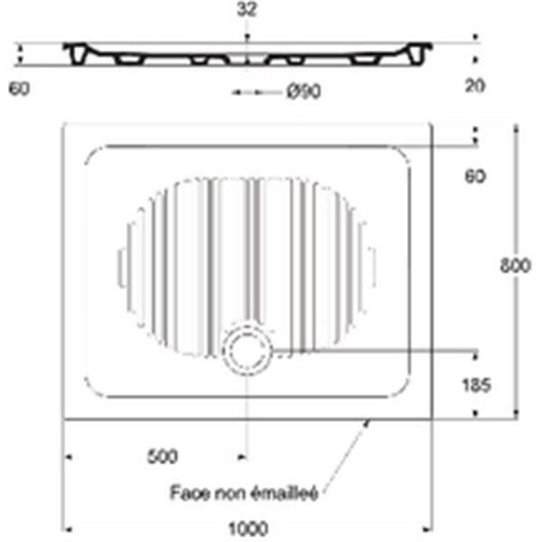 RECEVEUR DE DOUCHE Ideal standard Receveur CONNECT encastré 100x80cm,