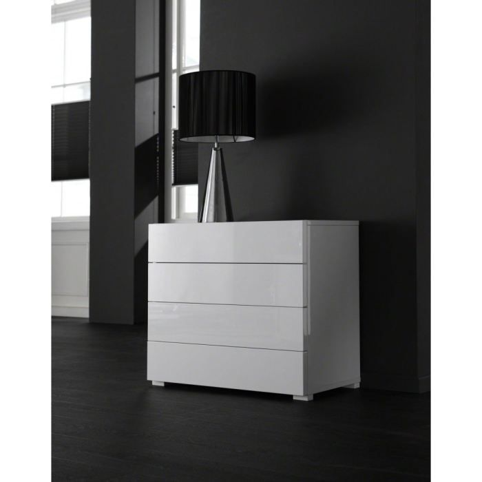 commode laqu e blanche design 4 tiroirs achat vente. Black Bedroom Furniture Sets. Home Design Ideas