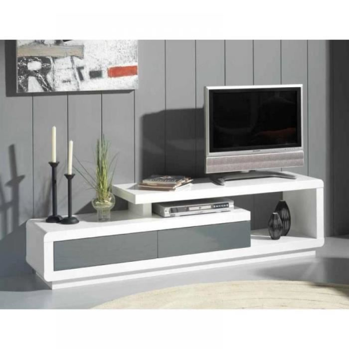 Meuble tv seville blanc 2 tiroirs gris anthracite achat for Meuble tv mural gris