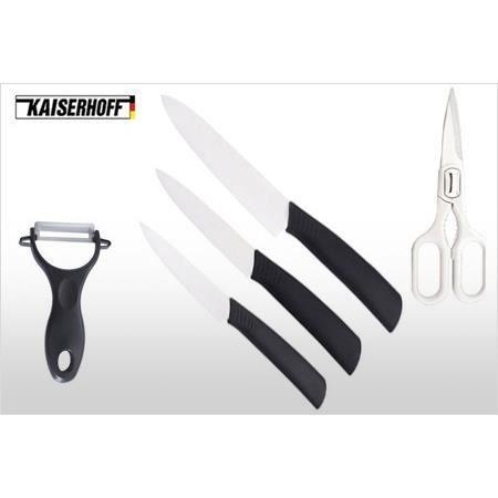 LOT USTENSILES ots de trois couteaux, un économe et des ciseaux K
