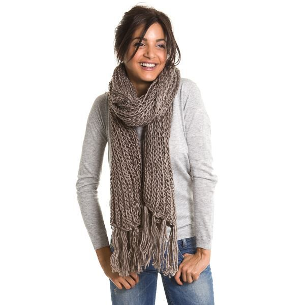 6ff28ed07394 Echarpe grosse maille... Taupe Gris - Achat   Vente echarpe ...