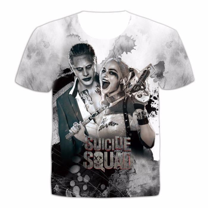 Suicide Squad T-shirt Joker tatouages Costume Sublimation Personnalisé T-shirt NOUVEAU