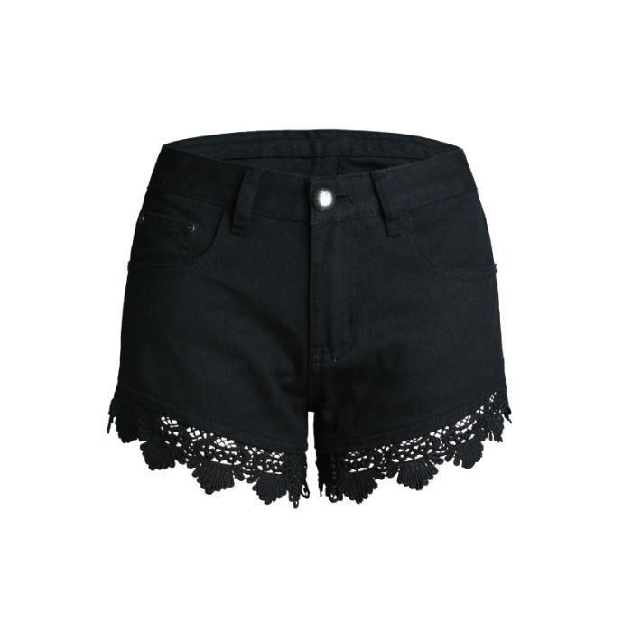 SIMPLE FLAVOR Short femme en jean Avec dentelle