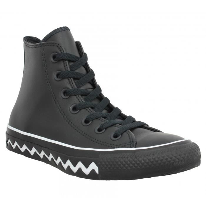 Baskets CONVERSE Chuck Taylor All Star Hi Mission cuir Femme-36-Noir