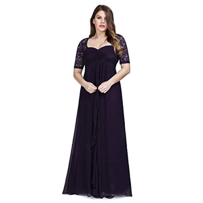 Robe Ouqye Longueur Au Sol Taille Empire Une Ligne Demi Manches Elegantes Robes De Soiree Grande Taille Ez07625 Taille 46 Dark Purple Achat Vente Robe Cdiscount