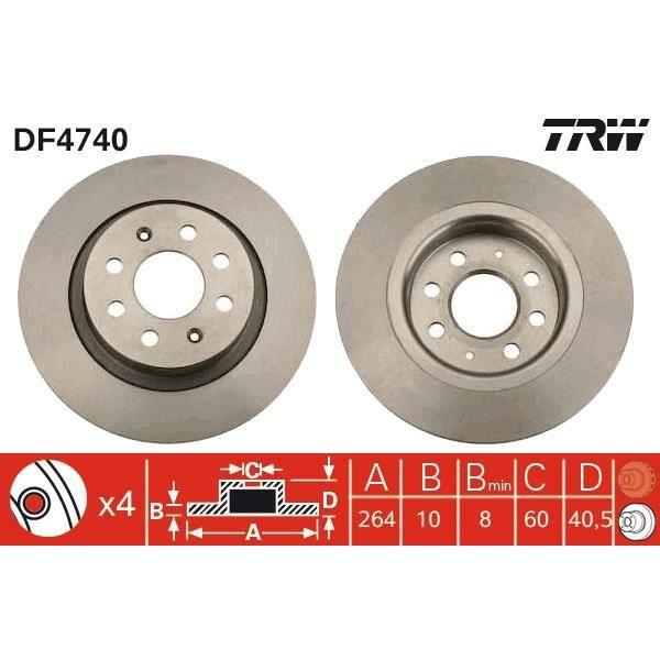 2 X TRW df6629 Disque de frein