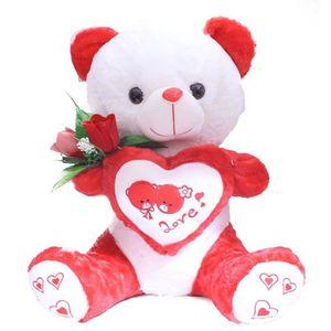 POUPON Poupon RZQ04 Teddy rouge avec une fleur en peluche
