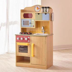 DINETTE - CUISINE Jeu de cuisine enfant en bois naturel pour fille e