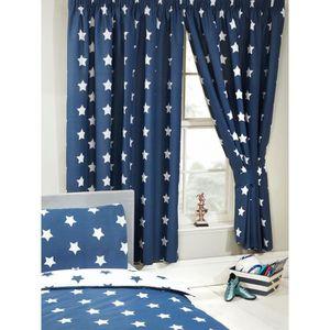 RIDEAU Bleu marine et blanc étoiles rideaux doublés 72