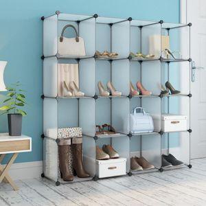 ARMOIRE DE CHAMBRE 16-Cube Meuble à Chaussures LANGRIA - L 147 x P 37