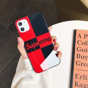 COQUE - BUMPER Coque iPhone 11,Supreme Rouge Noir Verre Coque Com